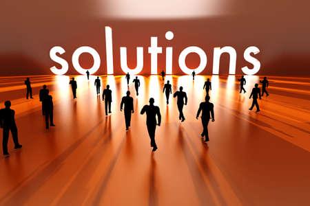 Walking towards the business solution  3D rendered Illustration