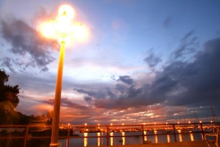 colonia del sacramento: Night scene in the Port of Colonia del Sacramento, Uruguay, South america