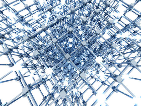 distributed: 3D rendered Illustration  A glowing grid