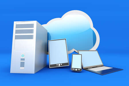 anywhere: Cloud computing  3D rendered illustration
