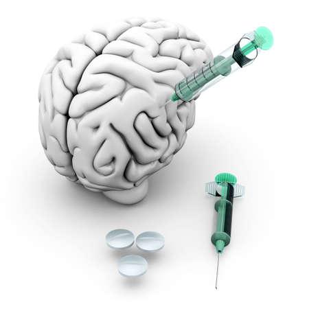 methamphetamine: Brain medication  Pills and syringes and a human brain