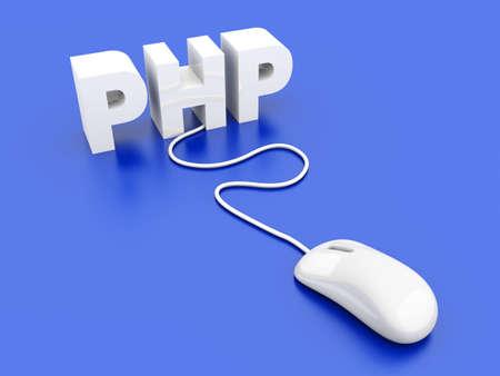 PHP click  3D rendered Illustration Stock Illustration - 18703921