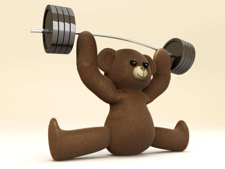 A weightlifting Teddy Bear  3D rendered Illustration  illustration