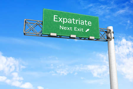 3D rendered Illustration  Highway Sign next exit to expatriation    Stock Photo