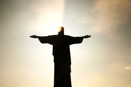 christus: Sunset over the Cristo Redentor in Rio de Janeiro, Brazil  Natural light, no effects used