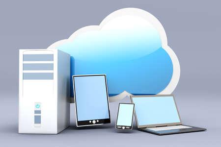 cel: Cloud computing  3D rendered illustration