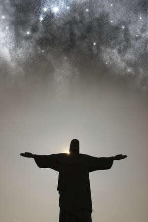 christus: Nightfall over the Cristo Redentor in Rio de Janeiro, Brazil  Composite image with surreal Sky