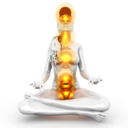 A woman performing a full chakra meditation  3D rendered illustration   Stock Illustration - 19110127