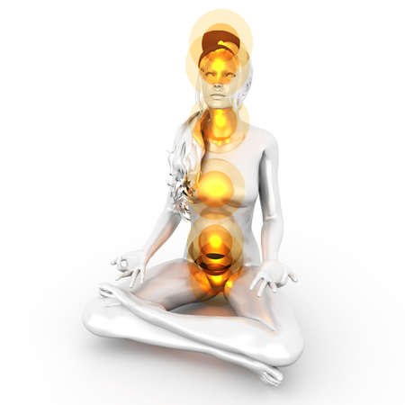 A woman performing a full chakra meditation  3D rendered illustration   Stock Photo