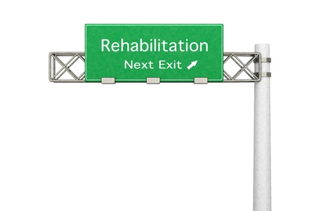 3D rendered Illustration  Highway Sign - Next exit to Rehabilitation    illustration