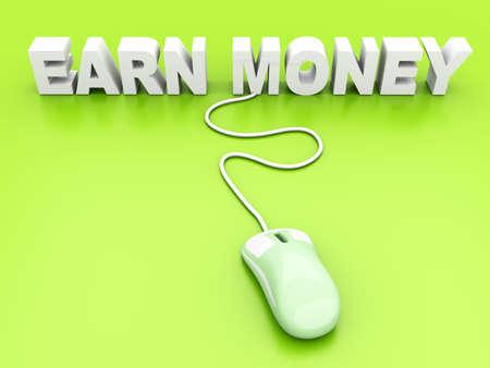 earn money: Earn Money online  3D rendered Illustration   Stock Photo