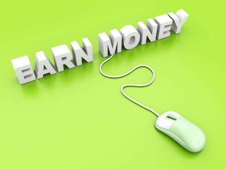earn money online: Earn Money online  3D rendered Illustration   Stock Photo