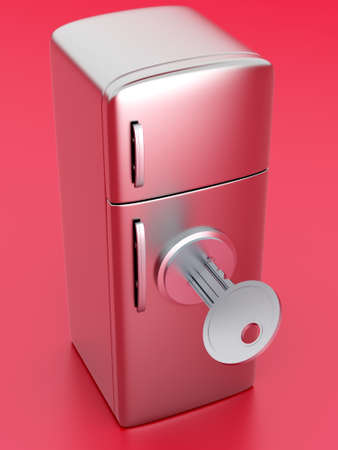 A locked, classic Fridge  3D rendered Illustration  illustration