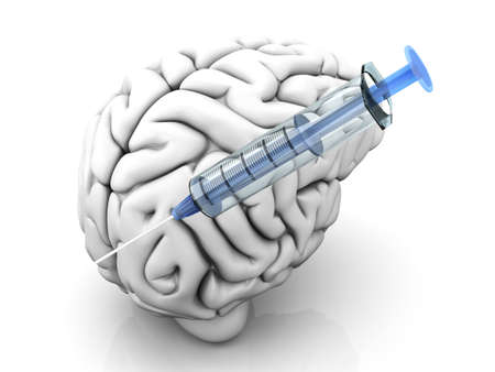 meth: Syringes injecting substances into a human brain