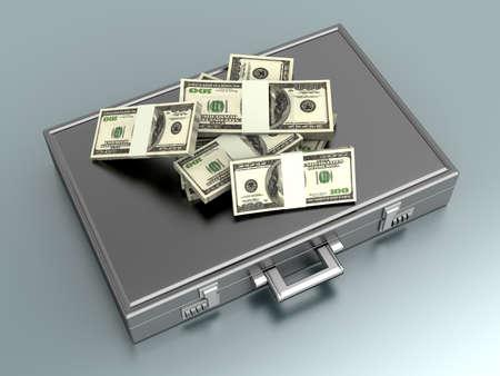 dollaro: Una valigetta e dollari in contanti. 3D rendering illustrazione. Archivio Fotografico