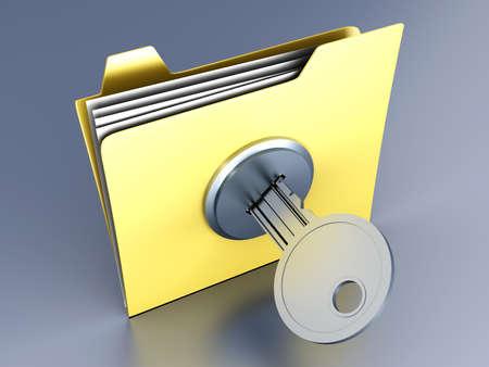vpn: A locked Folder. 3D illustration. Stock Photo