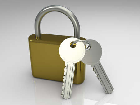classified: A padlock with keys. 3D rendered Illustration.