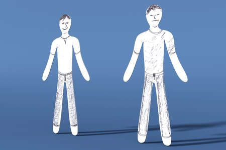 manos unidas: Uno es feliz, mientras que el resto es triste. 3D representa la ilustración.
