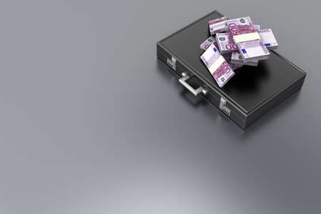 A Briefcase and Euros in Cash. 3D rendered Illustration. illustration