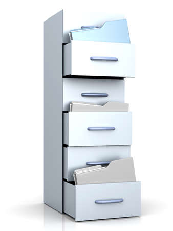 filing cabinet: A filing cabinet with folders. 3d illustration. Stock Photo