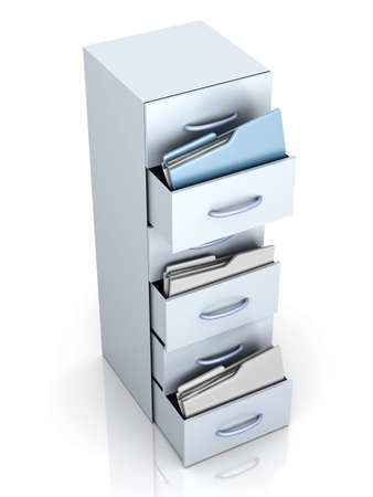 A filing cabinet with folders. 3d illustration. illustration