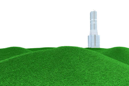 A skyscraper in a green Meadow. 3D rendered Illustration.   illustration