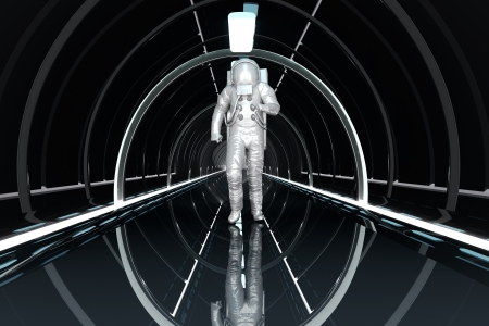 A Astronaut walking in a space station. 3D rendered illustration.