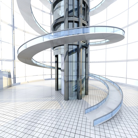 Science fiction architecture visualisation. 3D rendered illustration. Reklamní fotografie - 21159265