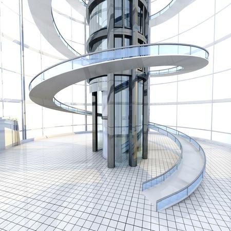 Science fiction architectuur visualisatie. 3D teruggegeven illustratie. Stockfoto