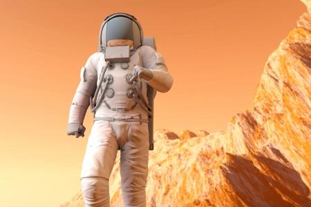 Een Astronaut lopen op het oppervlak van Mars. 3D illustratie.