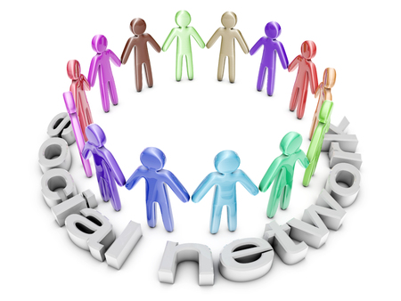 Multiethnic Social Network. A group of icon people standing in a circle. 3D rendered Illustration.