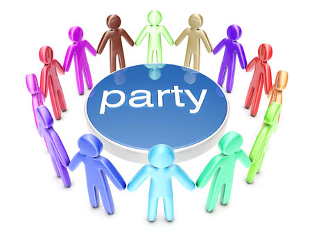 A diverse group of party people. 3D rendered Illustration. Stock Photo
