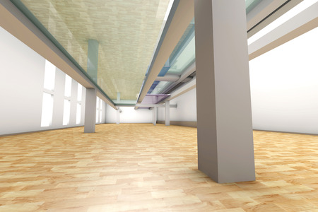 glas 3d: A modern empty Apartment interior. 3D rendered illustration.