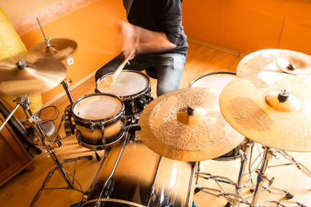 drumset: A drummer performing on his Drumset.