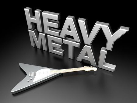 The word heavy metal with a generic guitar. 3D rendered Illustration.