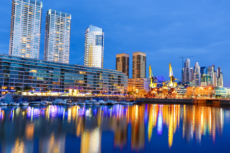The famous neighborhood of Puerto Madero in Buenos Aires Argentina at night.