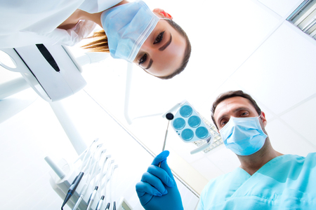 Inspection at the Dentist from the point of view of the patient. Banque d'images