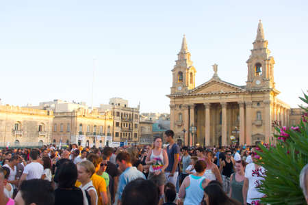 View at a decorated church at the MTV music festival in Valletta, Malta.