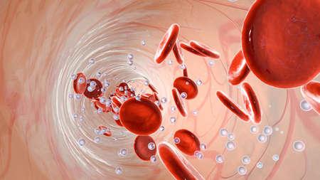 Zuurstofmoleculen en erytrocyten drijvend in een vat in de bloedstroom met erythrocyten.