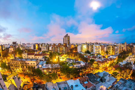 Panoramic view over Montevideo in Uruguay at night 写真素材