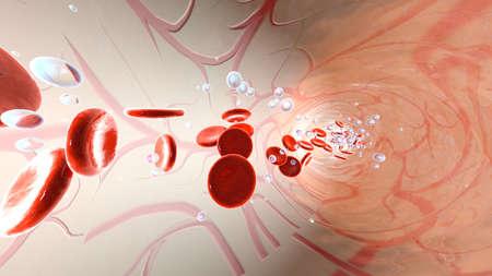 Zuurstofmoleculen en erytrocyten die in de bloedstroom drijven