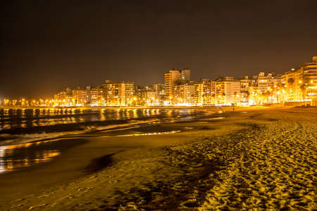 The beach in Montevideo in Uruguay at night