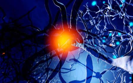 Neuron Cells building a neural network Stock Photo
