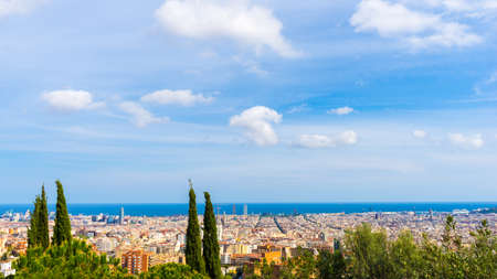 View over the city on a sunny summer day in Barcelona, Spain. Stock Photo