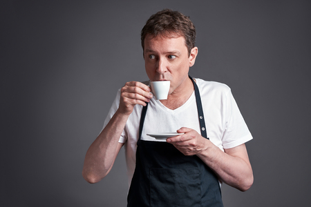 Man with a cup of coffee Stock Photo