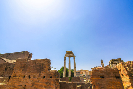 Closeup view on the details of the Forum Romanum in Rome, Italy on a sunny day. Stock Photo
