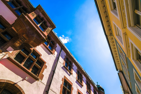 View on the historic architecture in Freiburg im Breisgau, Germany on a sunny day. Stock Photo