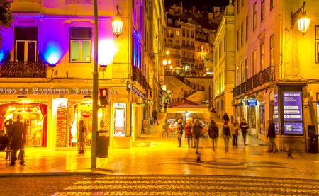 View on the downtown streets of Lisbon at night