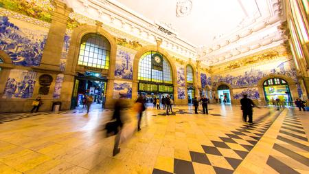 The historic Sao Bento Railway Station in Porto, Portugal