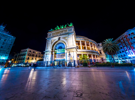 The Politeama Theatre in Palermo, Italy at night